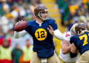 Dec 5, 2010; Green Bay, WI, USA; Green Bay Packers quarterback Aaron Rodgers (12) throws a pass during the first quarter against the San Francisco 49ers at Lambeau Field. Mandatory Credit: Jeff Hanisch-US PRESSWIRE